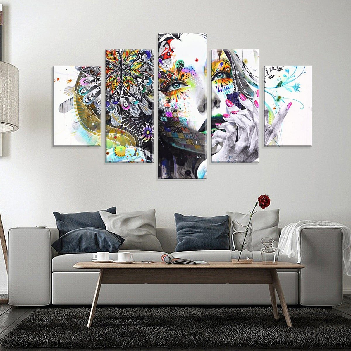 732e40e40 Conjunto De 5 Telas Decorativas Em Canvas Abstrato Face - R  299