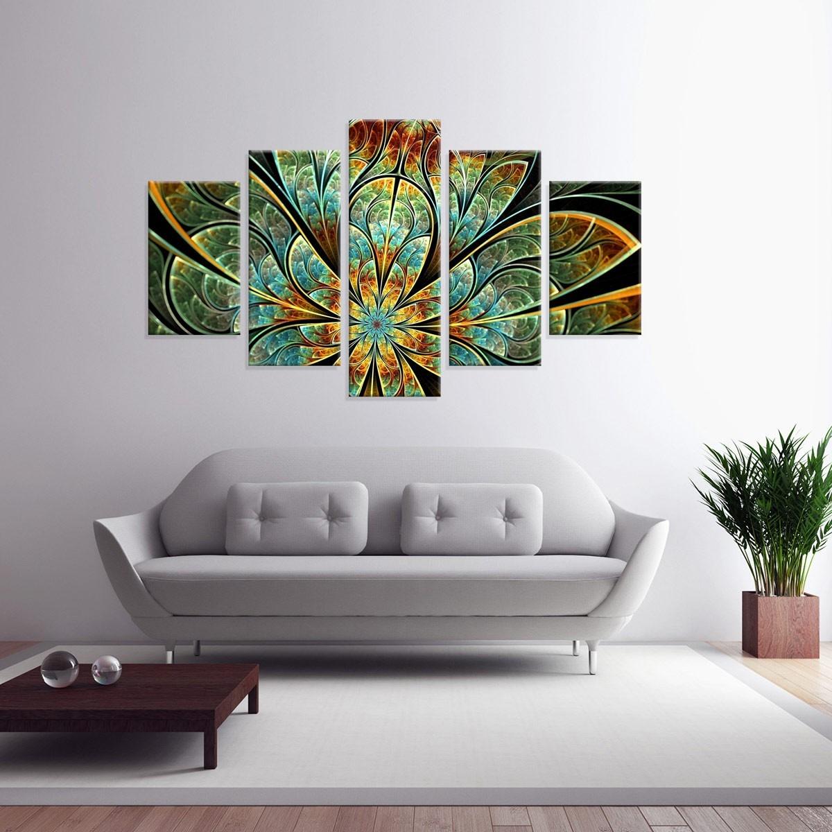 3d650290e conjunto de 5 telas decorativas em canvas abstrato flor verd. Carregando  zoom.
