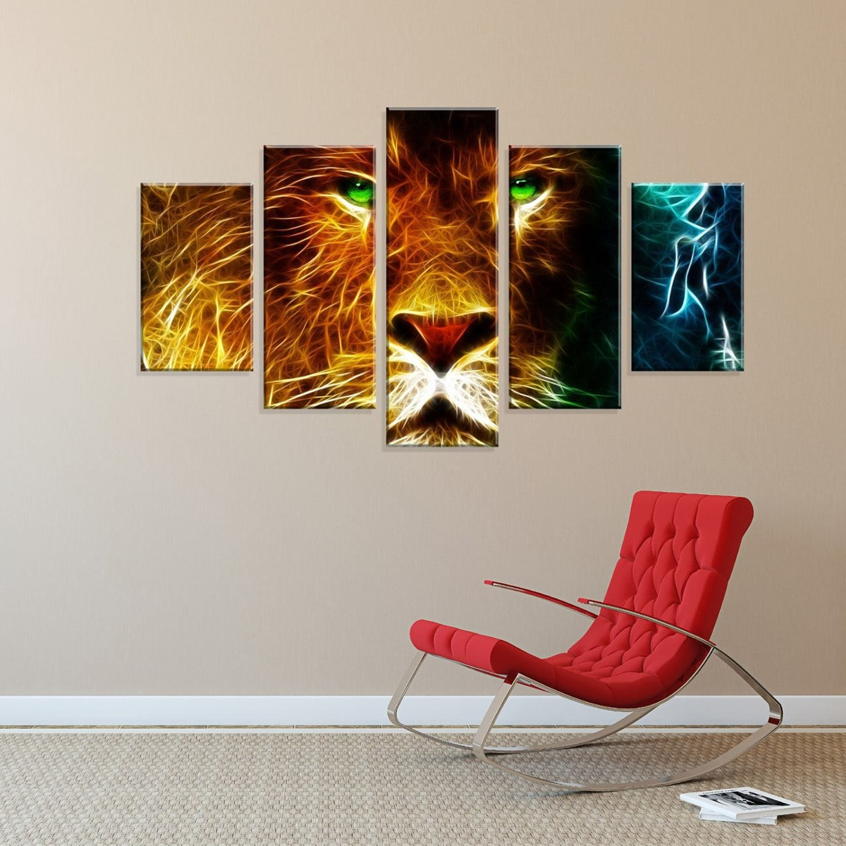 b308d8f0e conjunto de 5 telas decorativas em canvas abstrato leão new. Carregando  zoom.