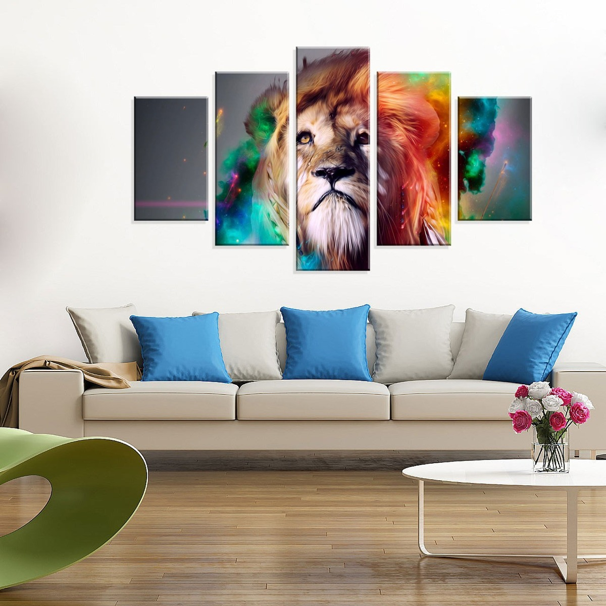 2595ee0d0 Conjunto De 5 Telas Decorativas Em Canvas Abstrato Lion - R  299