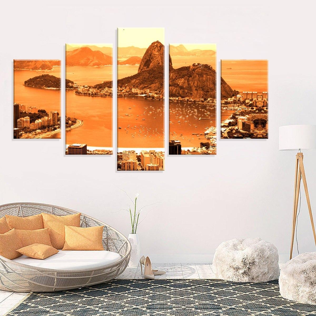 a18e4989f conjunto de 5 telas decorativas em canvas pão de açucar. Carregando zoom.