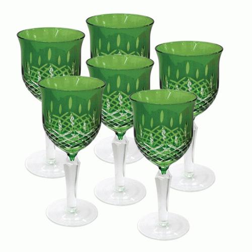conjunto de 6  taças de cristal lapidado ( cod 45 )