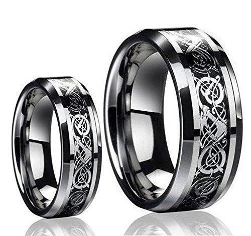 conjunto de anillo de banda de boda con incrustaciones de