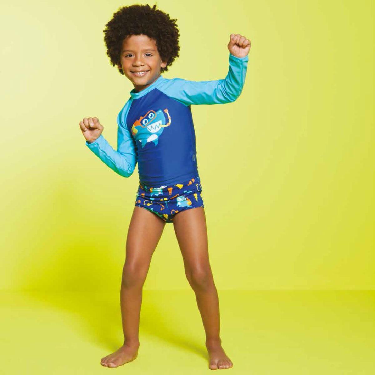 cb2141476 conjunto de banho para bebê tubarão mergulhador: camiseta su. Carregando  zoom.