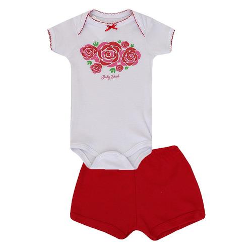 conjunto de bebê feminino body e short malha rosas