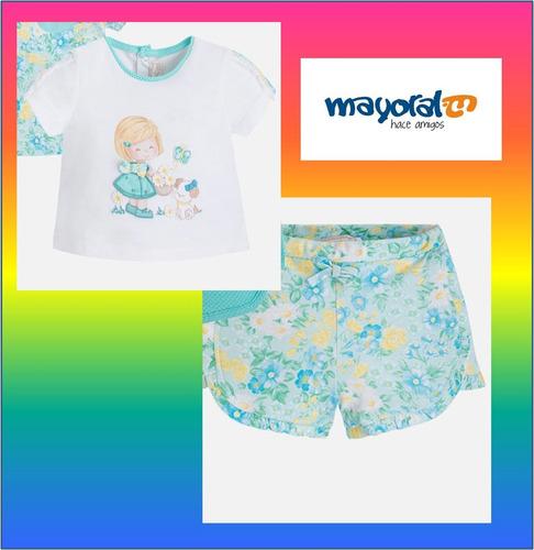 conjunto de blusa y short  mayoral bebé niña 1-2 meses