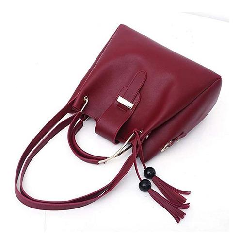 conjunto de bolsas c/borla de cuero sintético p/mujer 3 uds.