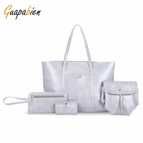 conjunto de bolsas de cuero sintético para mujer 4 uds.