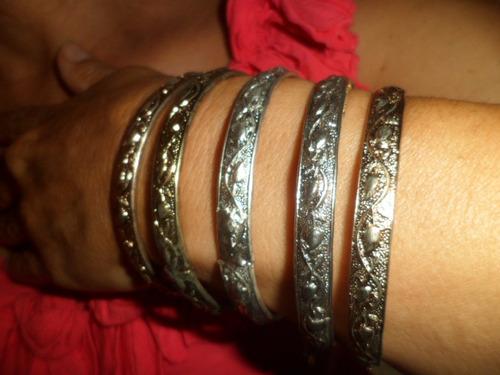 conjunto de braceletes italianos em 3 tonalidades diferentes