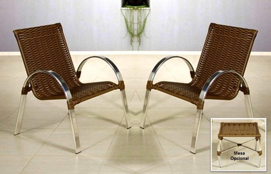 Conjunto De Cadeiras Poltronas Em Alum 237 Nio Varanda Rattan