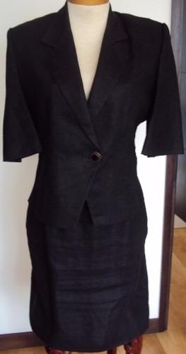 conjunto de chaqueta y falda para dama en lino negro