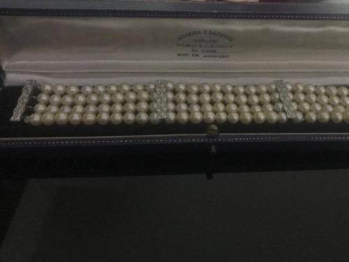 conjunto de colar e pulseira de pérola natural