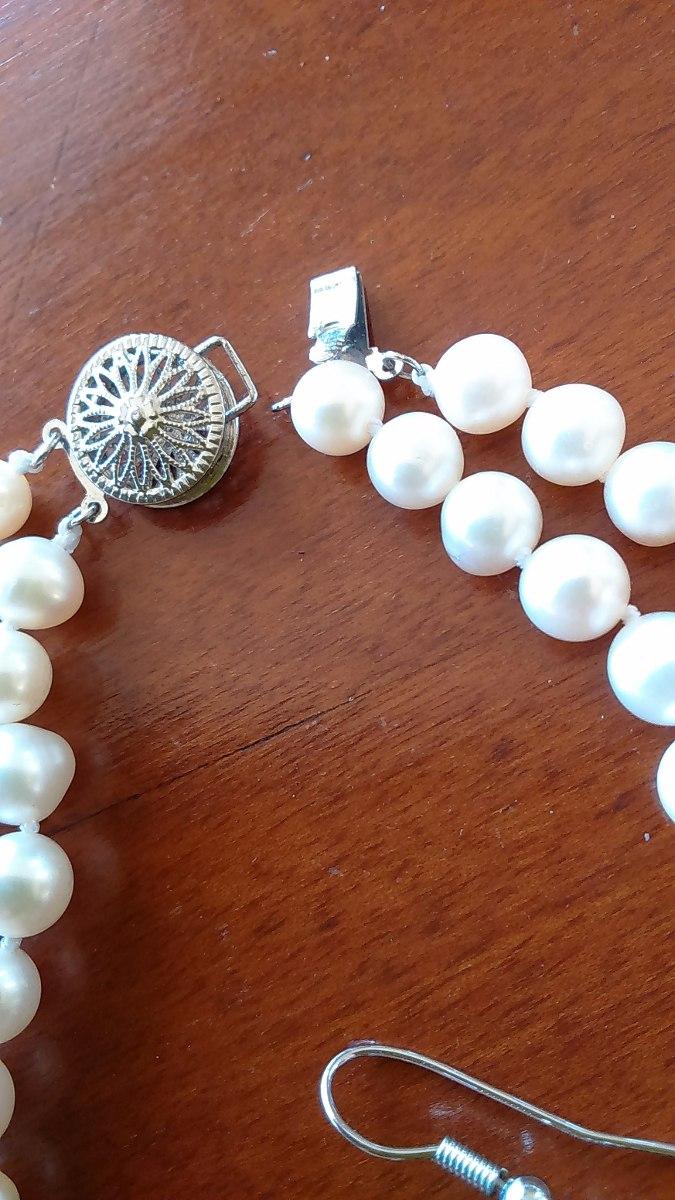 cc3be6209c94 conjunto de collar y aros de perlas de rio y piedra de jade. Cargando zoom.