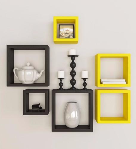 conjunto de com 6 nichos preto/amarelo nº108