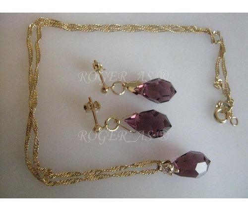 conjunto de cristal amethysta folheada ouro 18k