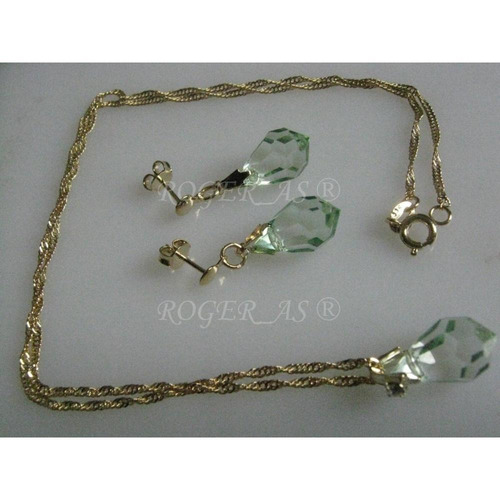 conjunto de cristal cor antique green folheada ouro 18k