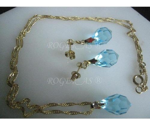 conjunto de cristal cor aquamarine folheada ouro 18k