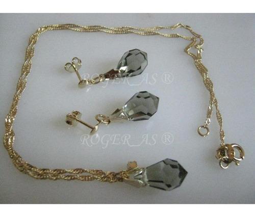 conjunto de cristal cor black diamond folheada ouro 18k