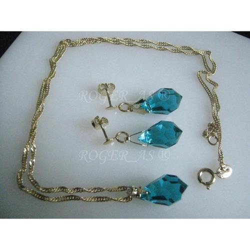 conjunto de cristal cor blue zircon folheada ouro 18k