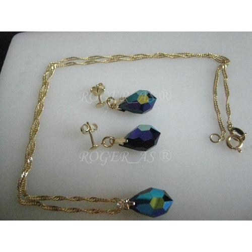 conjunto de cristal cor jet boreal  folheada ouro 18k