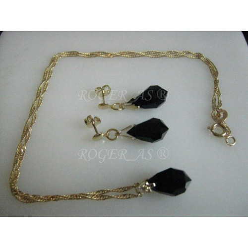 conjunto de cristal cor jet preta folheada ouro 18k