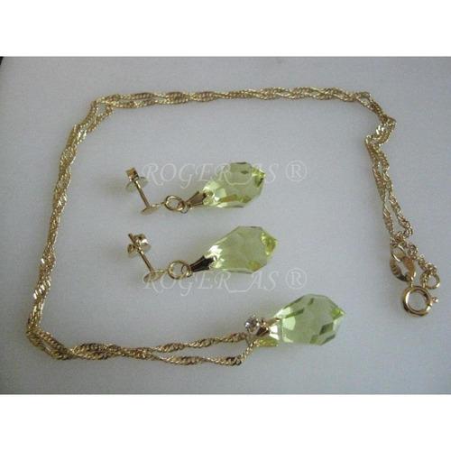 conjunto de cristal cor jonquil folheada ouro 18k