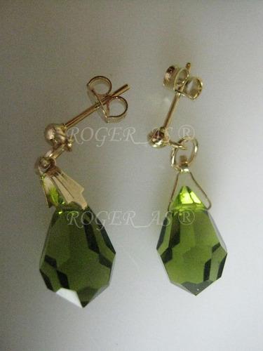 conjunto de cristal cor olivine folheada ouro 18k
