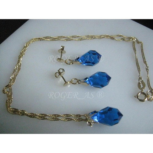 conjunto de cristal cor sapphire folheada ouro 18k