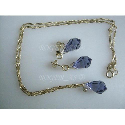 conjunto de cristal cor tanzanite folheada ouro 18k