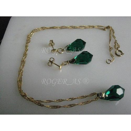 conjunto de cristal emerald folheada ouro 18k