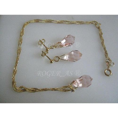 conjunto de cristal rose folheada ouro 18k