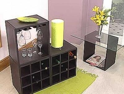conjunto de cubos vinoteca porta copa mesa ratona con vidrio