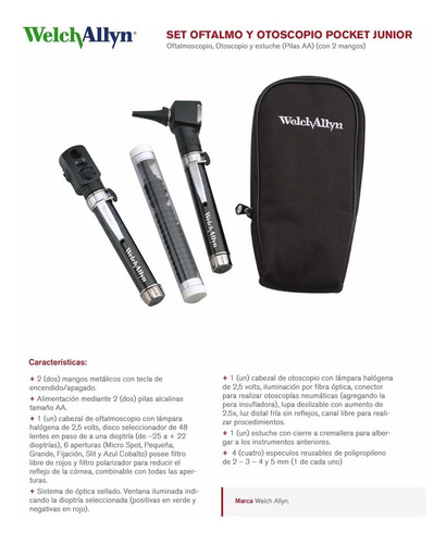 conjunto de diagnostico welch allyn de mano pocket junior