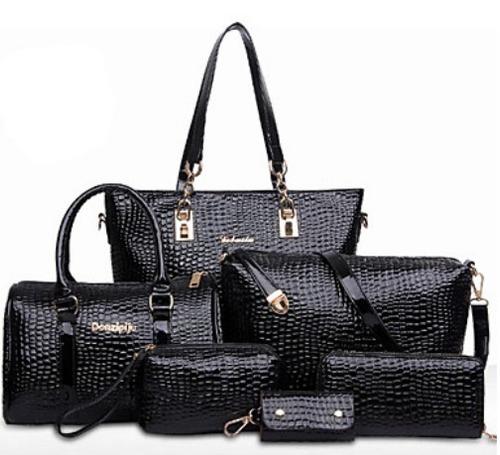 conjunto de elegantes bolsas imitación piel de cocodrilo