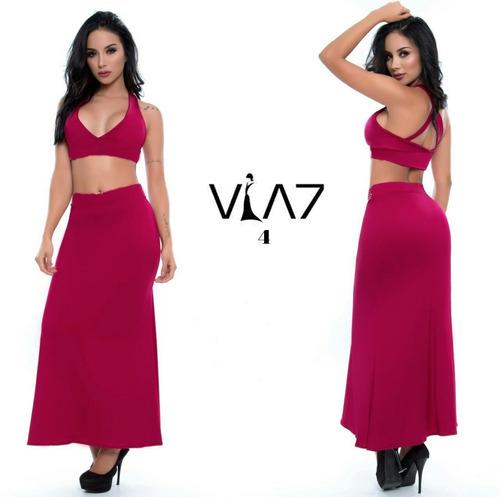 conjunto de falda larga y blusa corta para mujer nueva