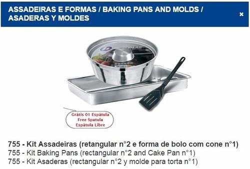 conjunto de forma assadeira pudim bolo torta em aluminio 3pç