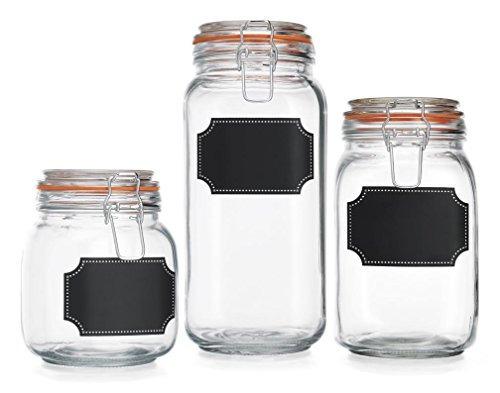 conjunto de hogar clásico de 3 frascos de vidrio del recipi
