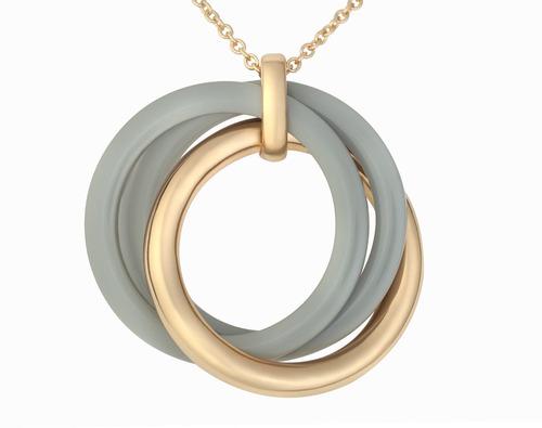 conjunto de joyas de bajo grado - redondo gris oscuro collar