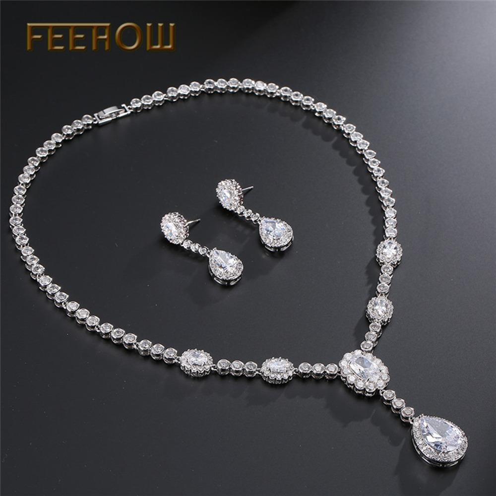 8755d2444e40 conjunto de joyas de boda nupcial cadena circón pendientes. Cargando zoom.