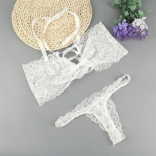 conjunto de lencería bralette sujetador y tanga sexy novia