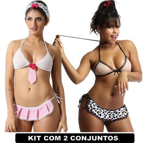 conjunto de lingerie com duas unidades baba e cachorra moda