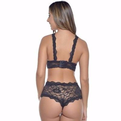 b4f0df34f27512 Conjunto De Lingerie Renda Cropped Sutiã + Caleçon Sexy
