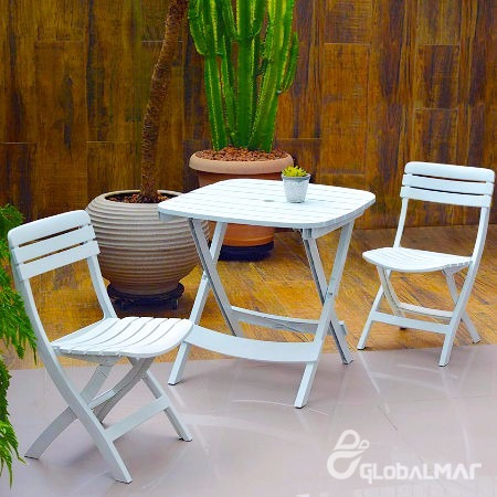 conjunto de mesa cadeiras piscina praia bar dobrável branco