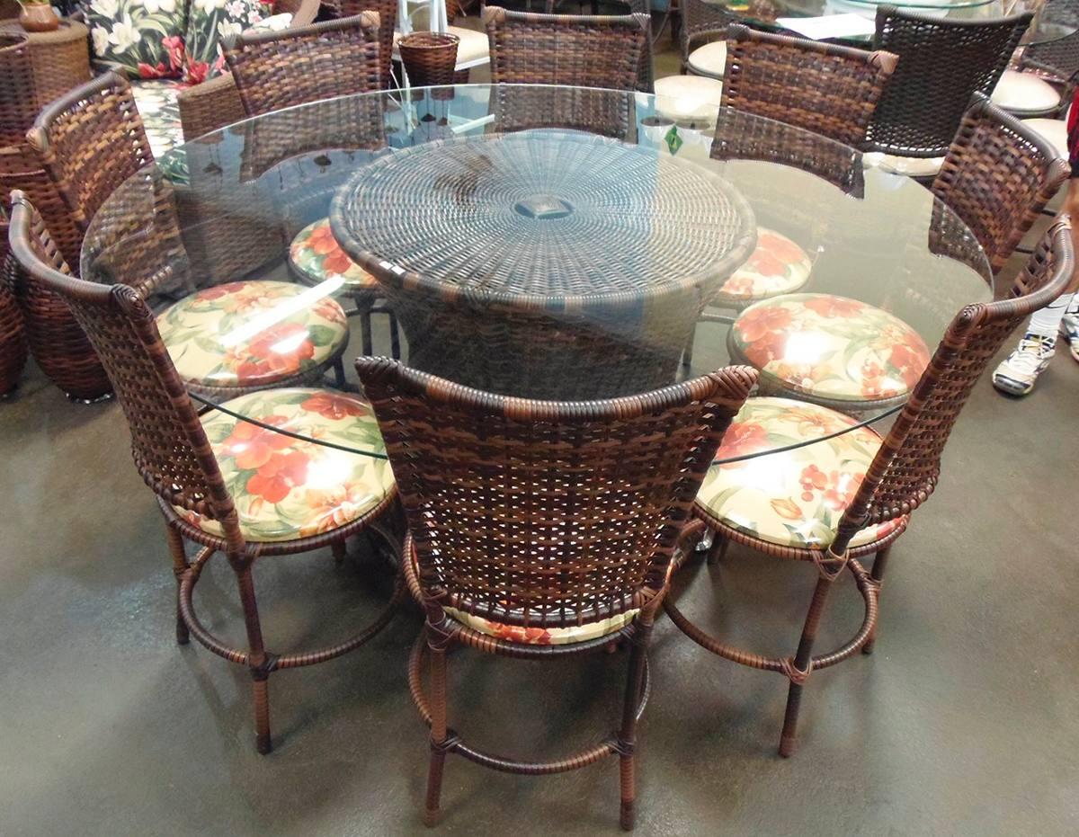 Conjunto de mesa circular e 8 cadeiras rattan junco ferro r em mercado livre - Mesas de rattan ...