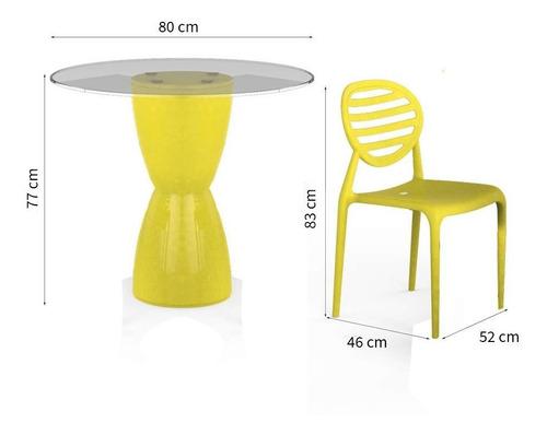 conjunto de mesa com 2 cadeiras e 2 bancos lounge i amarelo