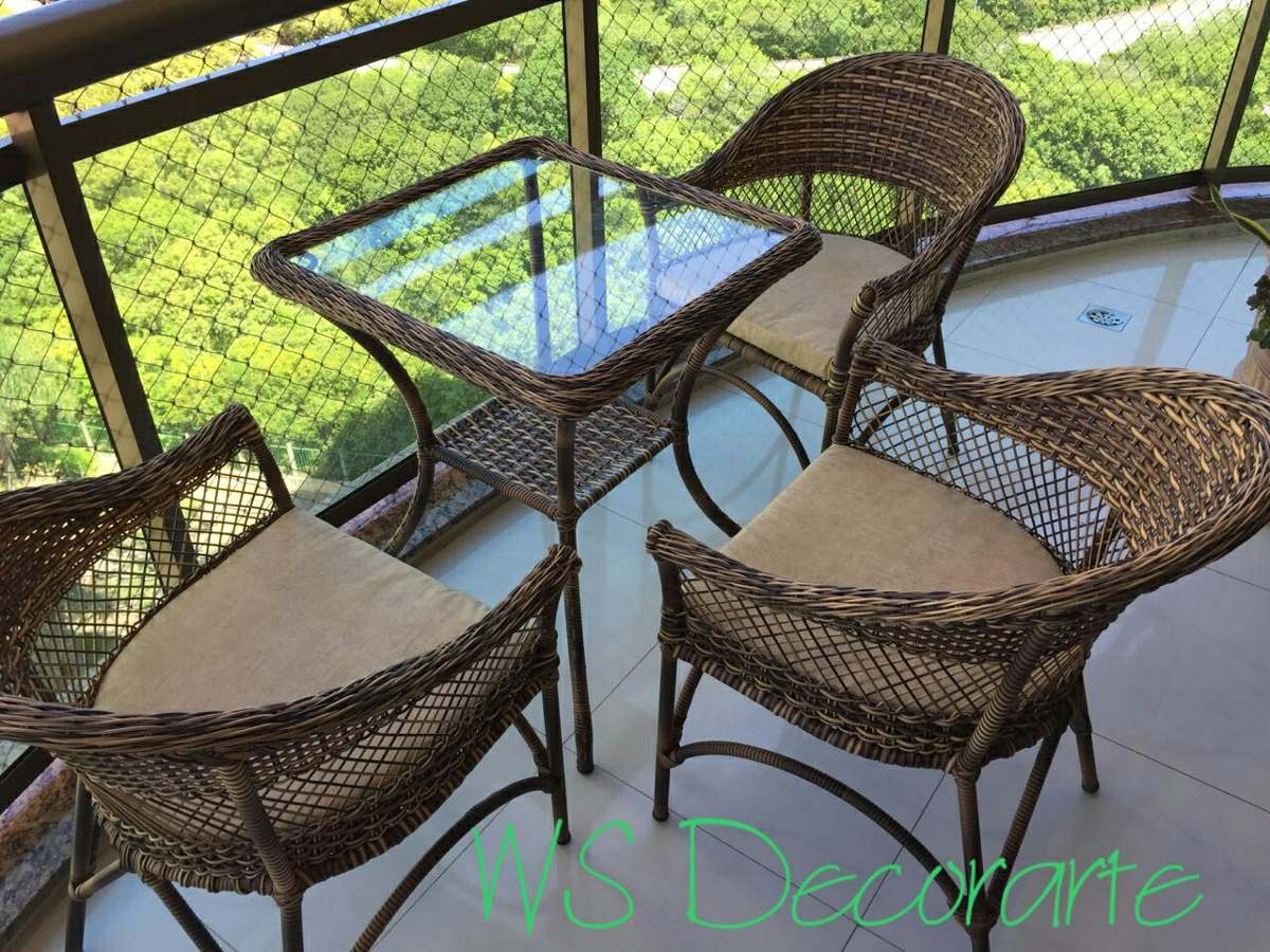 Conjunto de mesa com 3 cadeiras fibra sint tica vime for Conjunto jardin fibra sintetica