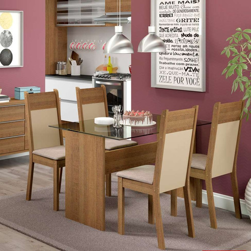 conjunto de mesa com 4 cadeiras de jantar marina linho rú...
