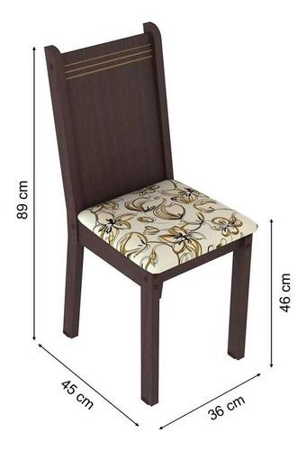 conjunto de mesa com 4 cadeiras rosie tabaco e lírio bege
