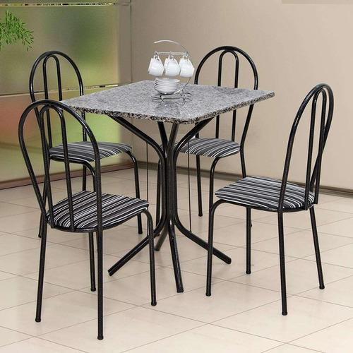 conjunto de mesa com 4 cadeiras thais craqueado preto lis...
