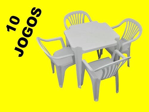 conjunto de mesa com cadeiras plástica bca poltrona 10 jogos